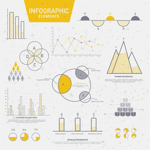 Creative business infographic elements including pie chart, graph, statistical bar etc.