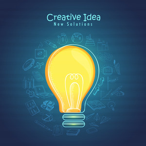 Creative Business Infographic elements with glossy bulb for Idea concept.