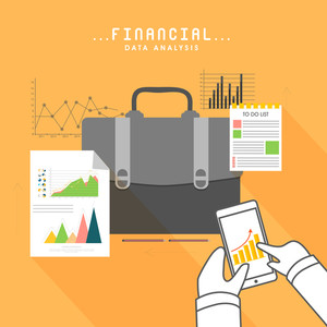 Creative business infographic elements with illustration of human hands working on smartphone for Financial Data Analysis concept.