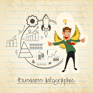 Creative business infographic elements with illustration of young happy boy, showing thumbs up on grungy notebook paper background.