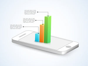 Creative Business Infographic layout with 3D colorful statistical bar on tablet.