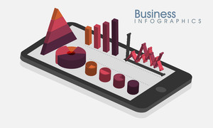 Creative Business Infographic layout with 3D statistical graphs and charts on tablet.