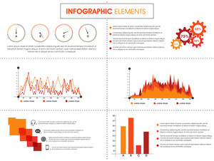 Creative business infographic layout with colorful elements, statistical bar, icons and graph.