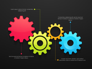 Creative Business Infographic layout with colorful glossy cogwheels.