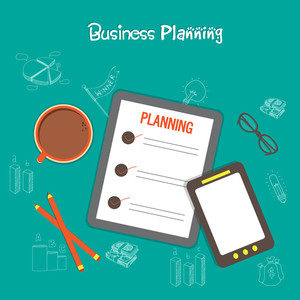 Creative Business Planning layout with Infographic elements and tablet.