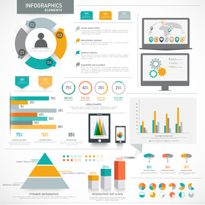 Creative collection of different business infographics for presenting your professional data and reports.