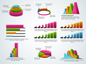 Creative colorful Business Infographic elements including pie chart, graph, statistical bar etc.