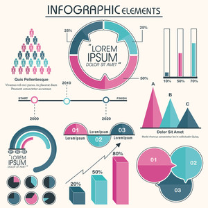 Creative colorful Business Infographic elements set for your financial growth and reports presentation.