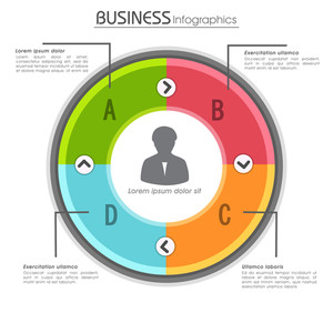 Creative colorful infographic circle on white background for Business.