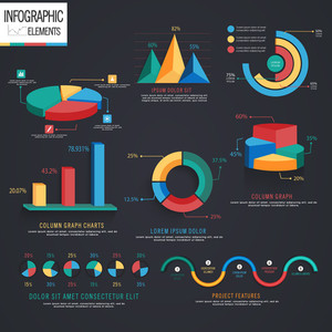Creative colorful infographic elements including various statistical graphs and charts for business reports and presentation.