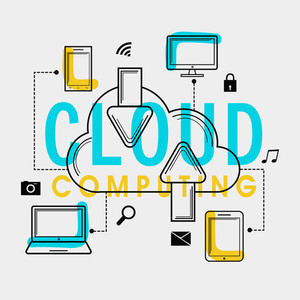 Creative digital devices with icons showing process of Cloud Computing.