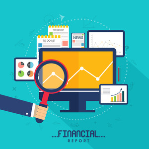 Creative digital devices with other infographic elements for Business Financial Reports presentation.