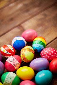 Creative Easter symbols of various colors with decor