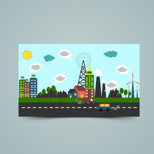 Creative ecological infographic elements with illustration of a industrial urban city, showing causes of pollution.