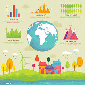 Creative ecological infographic elements with illustration of a industrial urban city, showing causes of pollution.reports presentation.