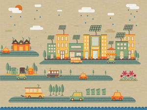 Creative ecological infographic elements with illustration of buildings, vehicles, trees and wind turbines various vehicles.