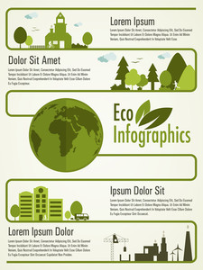 Creative ecological infographic elements with illustration of buildings,globe, trees and wind turbines.