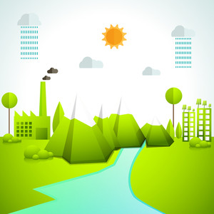 Creative ecological infographic elements with illustration of natural environment trees, water, nature