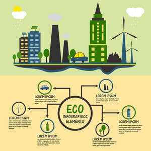 Creative ecological infographic elements with illustration of urban city buildings, factory and solar panel.