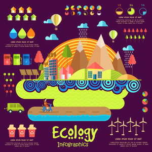 Creative ecological infographic elements with illustration of urban city buildings, roads and vehicles, and wind mill on purple background.