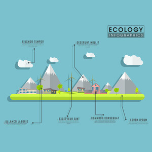 Creative ecological infographic layout with illustration of a urban city.