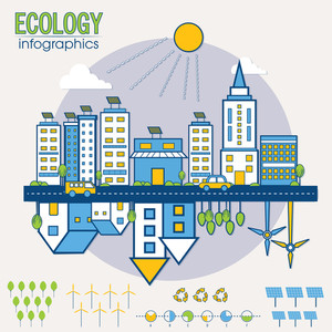 Creative Ecological Infographic layout with view of urban city and colorful statistical elements.