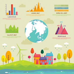 Creative ecology infographic elements with globe and statistical graphs or charts for professional presentation.