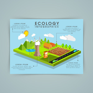 Creative ecology infographic template with view of green city.