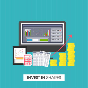 Creative financial analytics symbols for Invest in Shares concept.