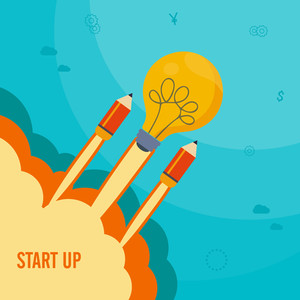 Creative flying rocket in light bulb shape, Vector illustration for business start up, project development process and idea concept.