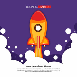 Creative flying Rocket in sky for New Business Project Start Up concept.