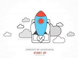 Creative flying rocket with digital tablet on shiny background for Business Start Up concept.