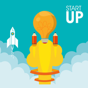 Creative flying rocket with light bulb for New Business Project Start Up concept.