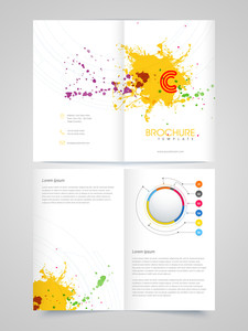 Creative glossy Brochure, Template or Flyer presentation, decorated with colorful splash for your Business.