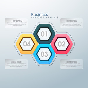 Creative glossy Business Infographic layout with numbers.