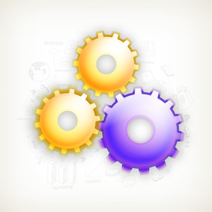 Creative glossy cog wheels on infographic elements decorated background for Business.
