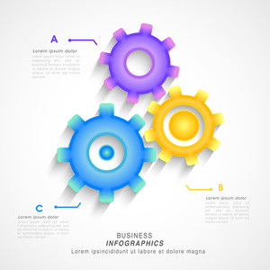 Creative glossy gear symbol infographic elements for Business purpose.