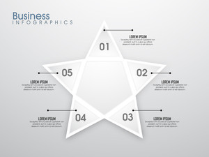 Creative glossy infographic element in star shape with numbers on grey background for Business concept.