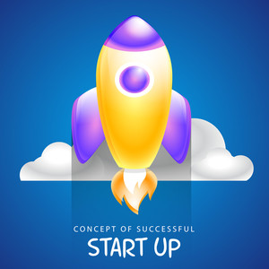 Creative glossy rocket for new Business Start Up concept.