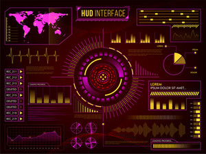 Creative HUD Infographic Interface or Web elements, Big set of statistical bars, graphs, charts, information infographics and rating elements, Futuristic abstract hi-tech background for Business.