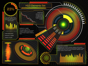 Creative HUD Interface or Web elements, Big set of statistical bars, graphs, charts, information infographics and rating elements, Futuristic abstract hi-tech virtual background for Business.