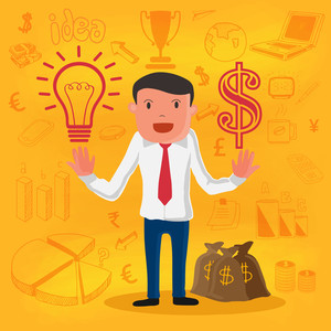 Creative illustration of a businessman with money bag and various business infographic elements.