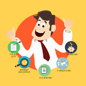 Creative illustration of a happy young Businessman with various plans for successful Business.