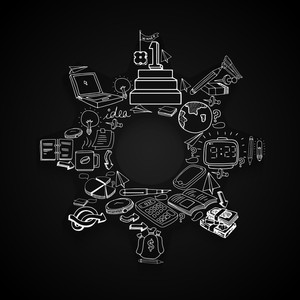 Creative illustration of business infographic elements in star shape on black background.