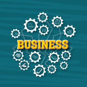 Creative illustration of business infographic elements on cogwheel.