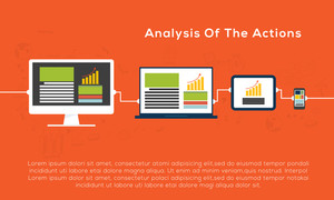 Creative illustration of digital devices showing process of website analytics and computing data analysis.