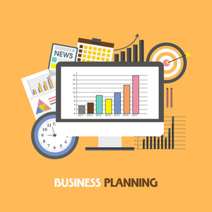 Creative illustration of statistical graph on desktop with various infographic elements for Business Planning concept.