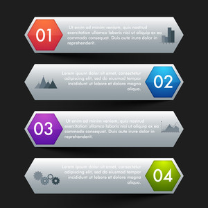 Creative infographic arrow banners set with numbers for business reports, presentation, workflow layout, charts and diagram.