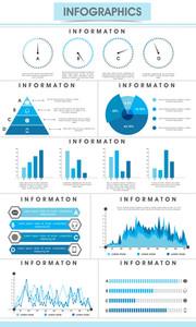 Creative infographic bars, pie charts, arrows and graphs for business data and professional reports presentation.