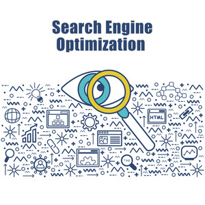 Creative Infographic elements for Search Engine Optimization.